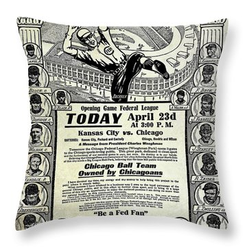 Chicago Cub Poster Throw Pillow