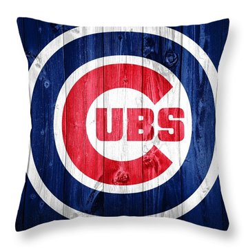 Chicago Cubs Barn Door Throw Pillow by Dan Sproul