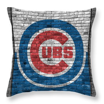 Chicago Cubs Brick Wall Throw Pillow by Joe Hamilton
