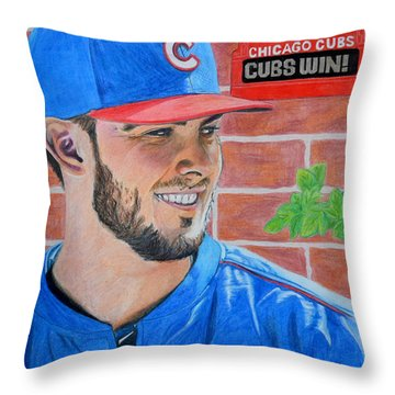 Chicago Cubs Kris Bryant Portrait Throw Pillow