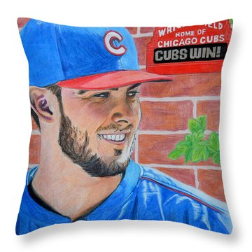 Throw Pillow featuring the drawing Chicago Cubs Kris Bryant Portrait by Melissa Goodrich