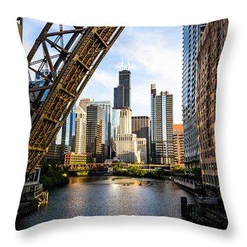 Chicago Downtown And Kinzie Street Railroad Bridge Throw Pillow