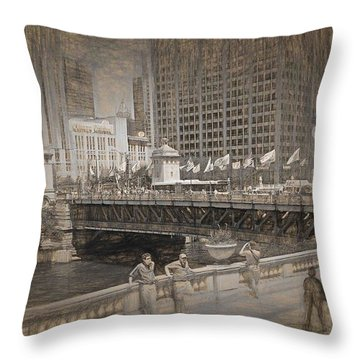 Chicago Dusable Bridge Street Scene Throw Pillow