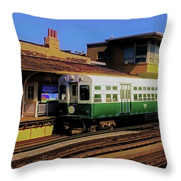 Throw Pillow featuring the photograph Chicago El Vintage  Cars At Armitage  by Tom Jelen