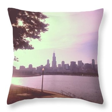 Chicago Skyline Throw Pillow by Emma O Brien