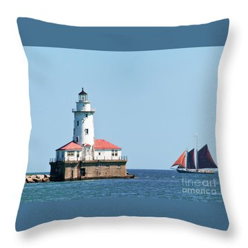 Chicago Harbor Lighthouse And A Tall Ship Throw Pillow