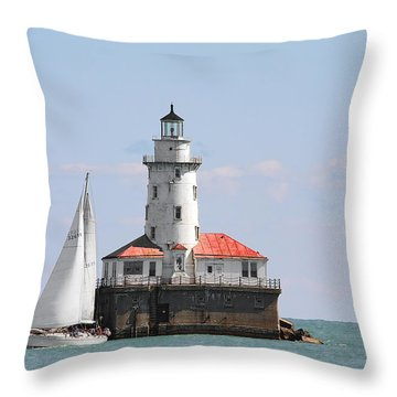 Chicago Harbor Lighthouse Throw Pillow by Christine Till