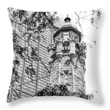 Throw Pillow featuring the photograph Chicago Historic Water Tower Fog Black And White by Christopher Arndt