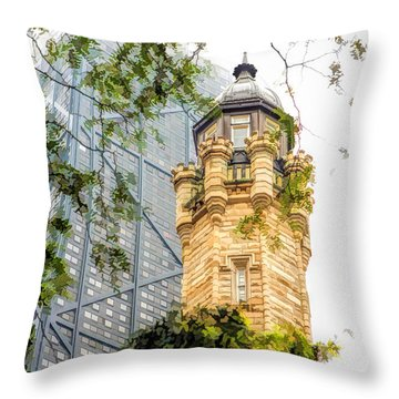 Chicago Historic Water Tower Fog Throw Pillow