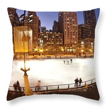 Chicago Ice Rink And Skyline At Dusk Throw Pillow