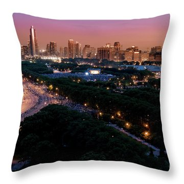 Chicago Independence Day At Night Throw Pillow