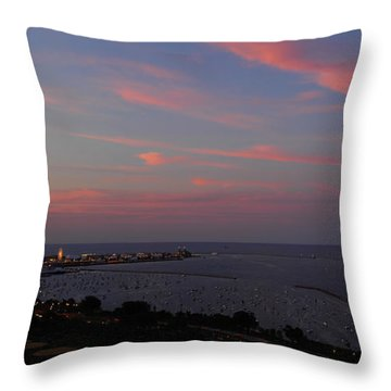 Chicago Lakefront At Sunset Throw Pillow