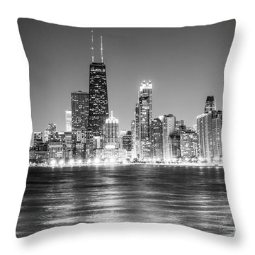 Chicago Lakefront Skyline Black And White Photo Throw Pillow by Paul Velgos