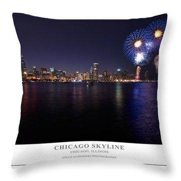 Chicago Lakefront Skyline Poster Throw Pillow by Steve Gadomski