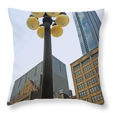 Chicago Lampost Throw Pillow