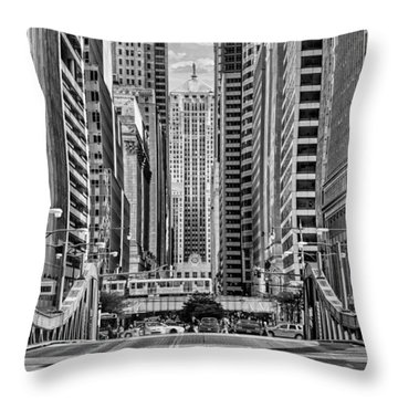 Throw Pillow featuring the photograph Chicago Lasalle Street Black And White by Christopher Arndt