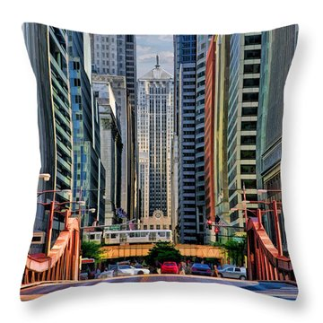 Throw Pillow featuring the painting Chicago Lasalle Street by Christopher Arndt
