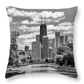 Throw Pillow featuring the painting Chicago Lincoln Park Lagoon Black And White by Christopher Arndt