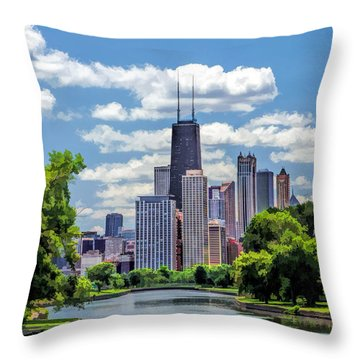 Throw Pillow featuring the painting Chicago Lincoln Park Lagoon by Christopher Arndt