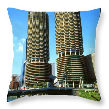 Chicago Marina City - Poster Art Throw Pillow by Art America Gallery Peter Potter