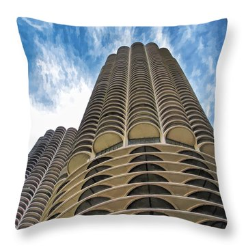 Throw Pillow featuring the painting Chicago Marina Towers by Christopher Arndt