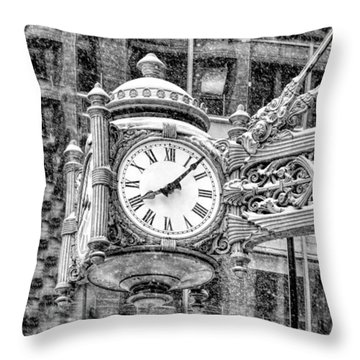 Throw Pillow featuring the photograph Chicago Marshall Field State Street Clock Black And White by Christopher Arndt