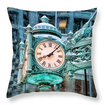 Throw Pillow featuring the painting Chicago Marshall Field State Street Clock by Christopher Arndt