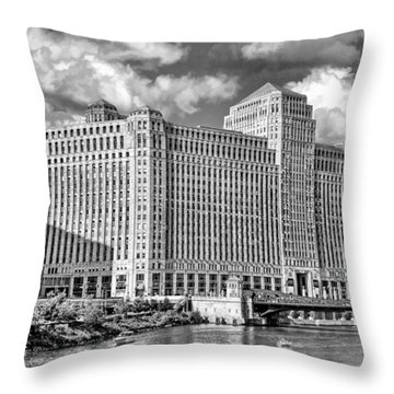 Throw Pillow featuring the photograph Chicago Merchandise Mart Black And White by Christopher Arndt