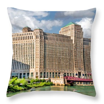 Throw Pillow featuring the painting Chicago Merchandise Mart by Christopher Arndt