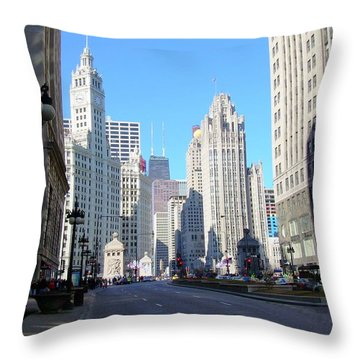 Chicago Miracle Mile Throw Pillow by Anita Burgermeister