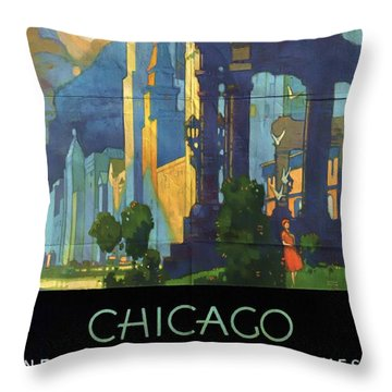 Chicago - New York Central Lines - Vintage Poster Folded Throw Pillow