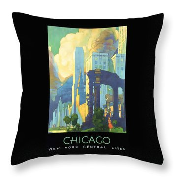 Chicago - New York Central Lines - Vintage Poster Restored Throw Pillow