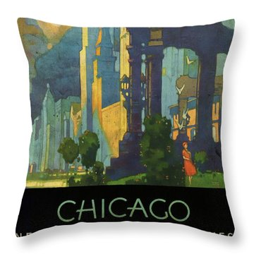 Chicago - New York Central Lines - Vintage Poster Vintagelized Throw Pillow