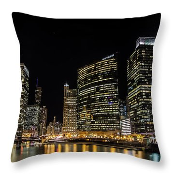 Chicago Night Skyline From Wolf Point Throw Pillow