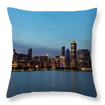 Chicago Night Skyline Throw Pillow