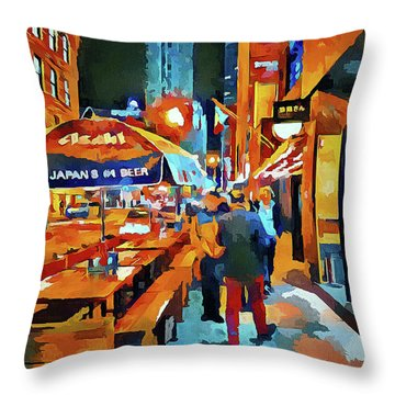 Chicago Night Time Throw Pillow