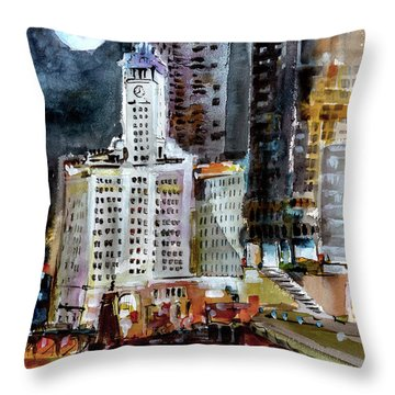 Chicago Night Wrigley Building Art Throw Pillow