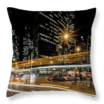 Chicago Nighttime Time Exposure Throw Pillow