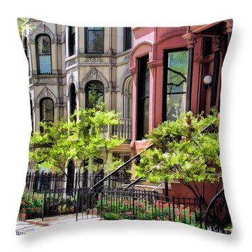 Throw Pillow featuring the painting Chicago North Shore Greystones by Christopher Arndt