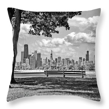 Throw Pillow featuring the photograph Chicago North Skyline Park Black And White by Christopher Arndt
