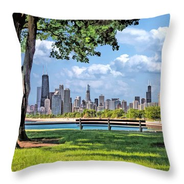 Throw Pillow featuring the painting Chicago North Skyline Park by Christopher Arndt