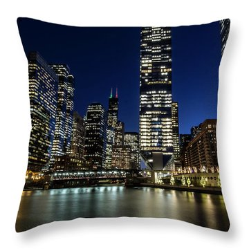 Chicago River And Skyline At Dusk  Throw Pillow