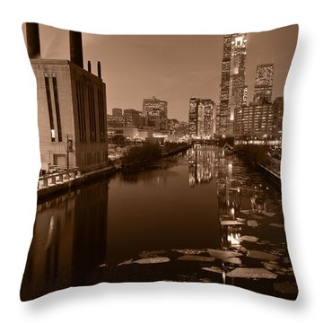 Chicago River B And W Throw Pillow by Steve Gadomski