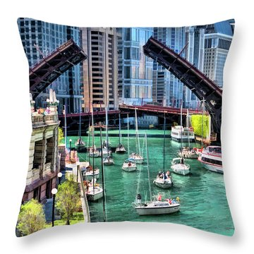 Throw Pillow featuring the painting Chicago River Boat Migration by Christopher Arndt
