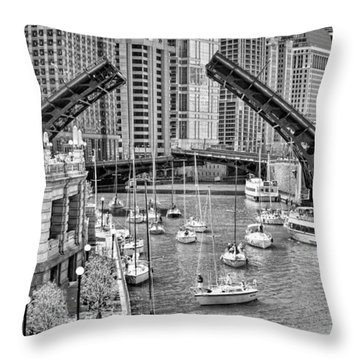 Throw Pillow featuring the photograph Chicago River Boat Migration In Black And White by Christopher Arndt