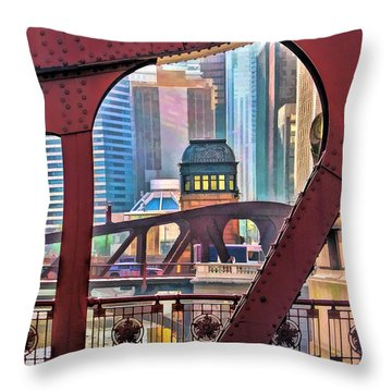 Chicago River Bridge Framed Throw Pillow