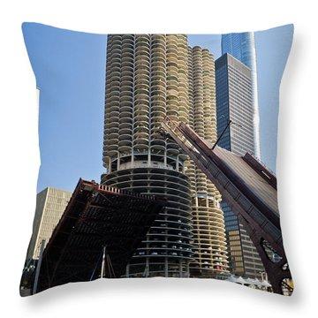 Chicago River Bridge Lift At Marina Towers Throw Pillow