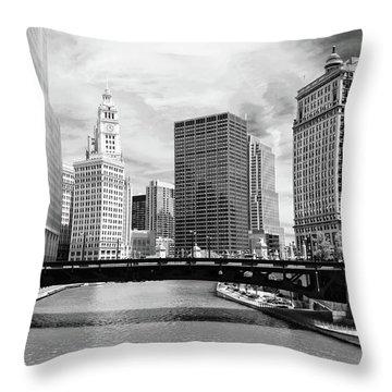 Chicago River Buildings Skyline Throw Pillow