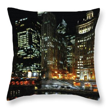 Chicago River Crossing Throw Pillow by Jeff Kolker