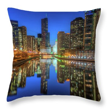 Chicago River East Throw Pillow by Steve Gadomski